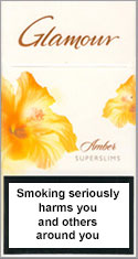 Glamour Super Slims Amber 100's Cigarettes pack